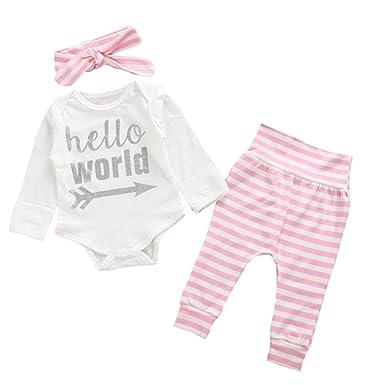 SMARTLADY Bebé Niñas Ropa Letra Tops Mono de manga larga y Pantalones de raya con Banda