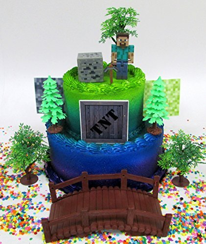 MINECRAFT Birthday Cake Topper Set Featuring STEVE and Themed Decorative -