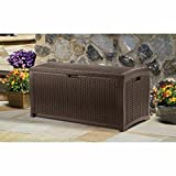 Patio Deck Box Storage 99 Gallon Organizational Beautiful Mocha Brown Wicker Large Capacity Custom