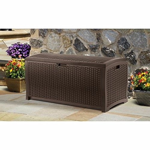 Patio Deck Box Storage 99 Gallon Organizational Beautiful Mocha Brown Wicker Large Capacity Custom by SUN