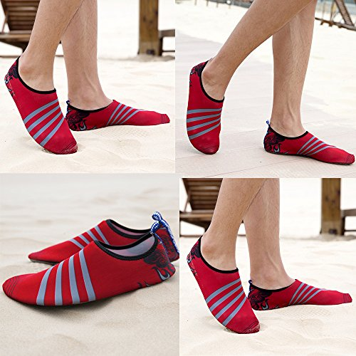 Yoga Barefoot Aqua Pool Quick Swim River Women Red for Men Dry Socks Beach Shoes Lightweight Water Shoes 4qAxnFw1