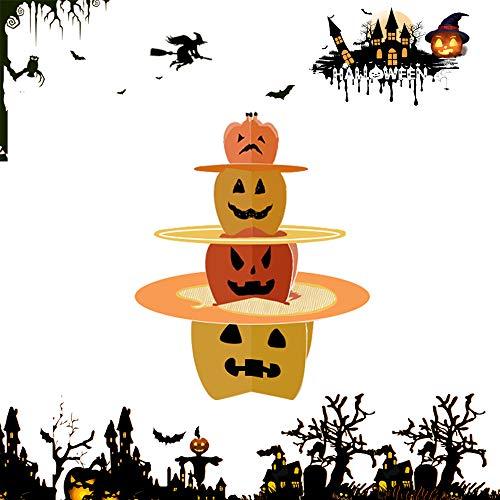 Best Halloween Themed Desserts (BOSHENG 3 Tier Halloween Cardboard Cupcake Stand Tower Round Cupcake Stand Dessert Cupcake Holder Halloween, Themed Party (Pumpkin)