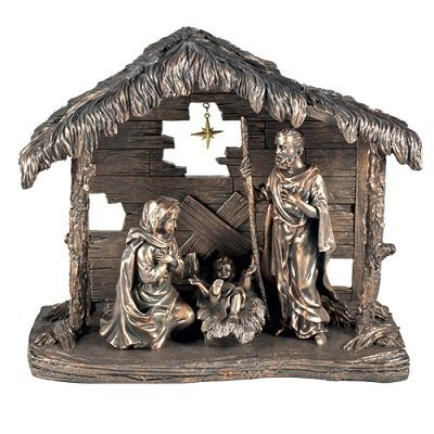 LCP Holy Family and Creche Bronze Hand-Cast Resin Nativit...