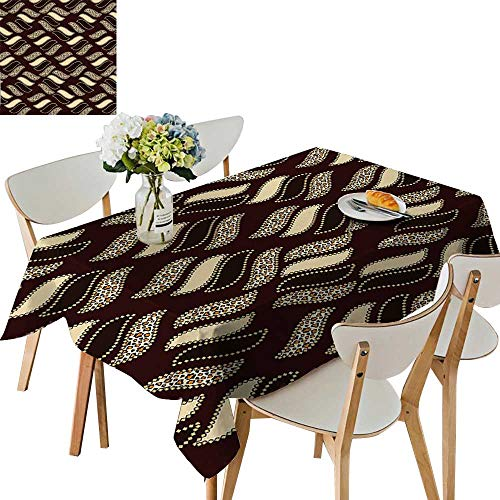 UHOO2018 Solid Tablecloth African Style Cheetah Skin Texture Pattern Camouflage Design Redwood Brown Light Yellow Square/Rectangle Spillproof Fabric Tablecloth,50x 50inch