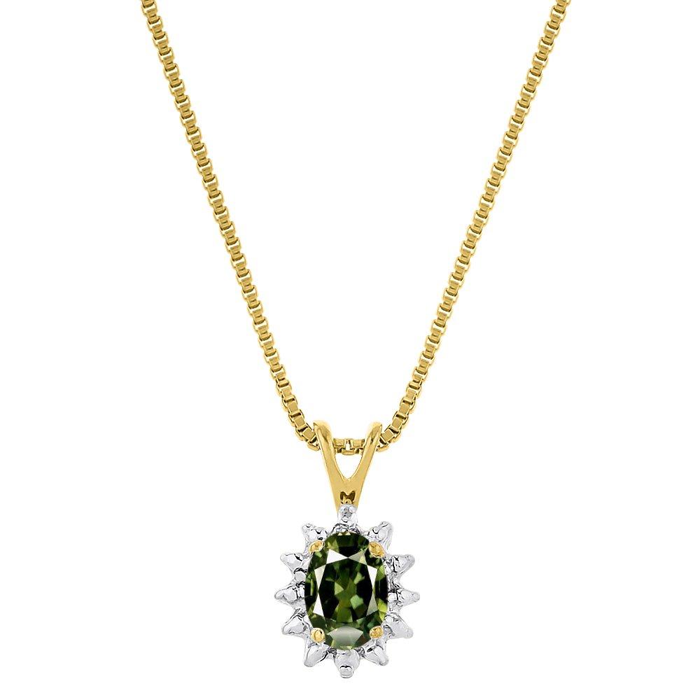 ダイヤモンド&グリーンサファイアペンダントネックレス14 K黄色または14 Kホワイトゴールド B075RPMQTP