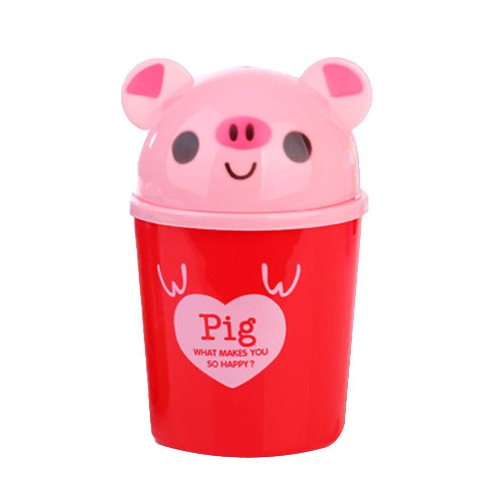 Desktop Trash Can Mini Trash Bin Cute Pet Shape Countertop Plastic Trash Can Garbage Storage Bucket Wastebasket for Home or Office (Red)