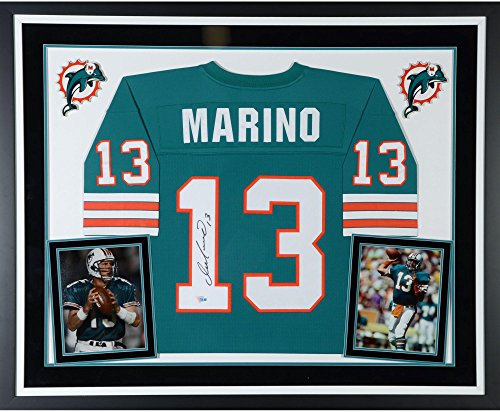Dan Marino Miami Dolphins Deluxe Framed Autographed Mitchell & Ness Teal Replica Jersey - Fanatics Authentic Certified