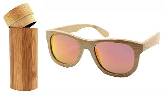 100% Handmade Lunette De Soleil / Solaire Original En Bambou Naturel Polarisée Contre UV400 Eté Unisexe Femme Homme Pour Conduite Vacances Voyage Sport Outdoor Rouge B4LvNypEfx