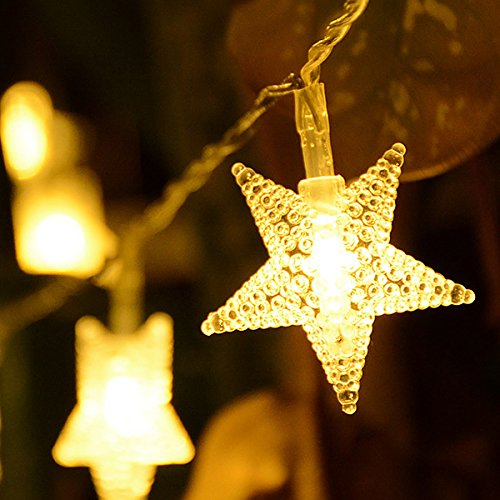 Homeleo 50 LED Warm White LED Twinkle Star Fairy Lights w/Remote Control, Battery Powered Five-Pointed Star String Lights by Homeleo (Image #5)