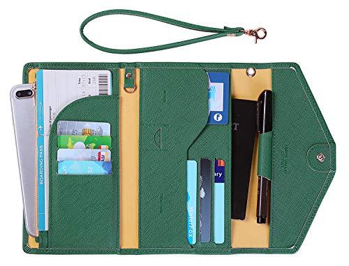 Zoppen Passport Holder Travel Wallet (Ver.5) for Women Rfid Blocking Multi-purpose Passport Cover Document Organizer Strap, Forest Green (Wallet Travel Green)