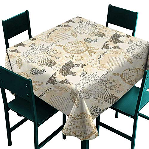 All of better Wanderlust Decor Jacquard Tablecloth Vintage Globe World Map Airship Rope Knots Ribbon Retro Illustration Beige Olive Green Small Square Tablecloth W 36