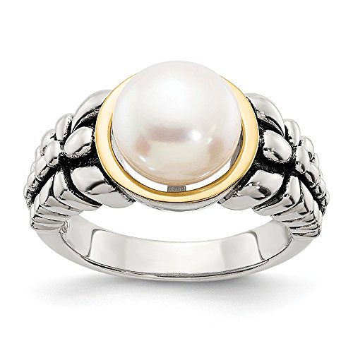 14K White Gold Pearl Ring Band Solid Antiqued 14K Gold Yellow 3 mm 9.5-10mm FW Cultured Pearl Ring ()