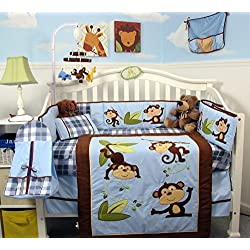 SoHo Playful Monkey Baby Crib Nursery Bedding Set for boys 14 pcs