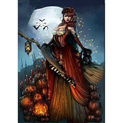 5D DIY Diamond Painting,[Full Drill] by Number Kits Crafts & Sewing Cross Stitch,Wall Stickers for Living Room Decoration,Halloween Decor Pumpkin Witch Skull (A)]()