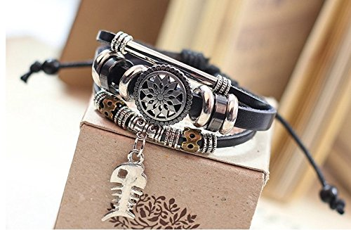 - Hand-woven leather cord bracelet, chain fish bones alloy bracelet, European and American punk style