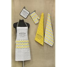 """R Home Printed Cotton Chef's Apron Set with Mitten, Pot Holder and Kitchen Towels, Yellow Kitchen Linen Apron: 25""""x31.5"""" Mitten: 7""""x13"""" Pot Holder: 8""""x8"""" Towels: 20""""x27"""""""