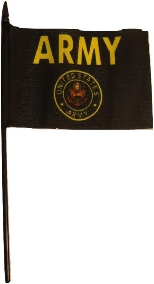 "Wholesale Lot of 6 U.S Army Seal Crest 4/""x6/"" Flag Desk Table Stick Black Staff"
