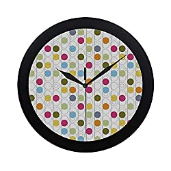 C COABALLA Grunge Circular Plastic Wall Clock,Retro Revival Pattern with Circles and Colorful Dots Abstract Style Antique Design for Home,9.65 D
