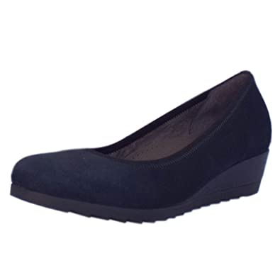 48289df941876 Gabor Epworth Wide Fit Low Wedge Pumps in Navy Suede Navy Suede 9 ...