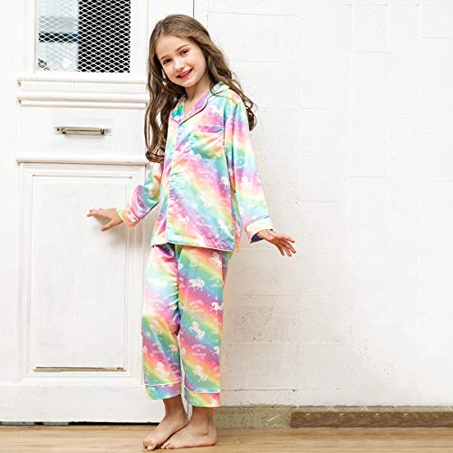 Kids Girls Satin Pajamas Set Long Sleeve Button-Down Sleepwear Loungewear  Unicorn Rainbow 0757b78ed