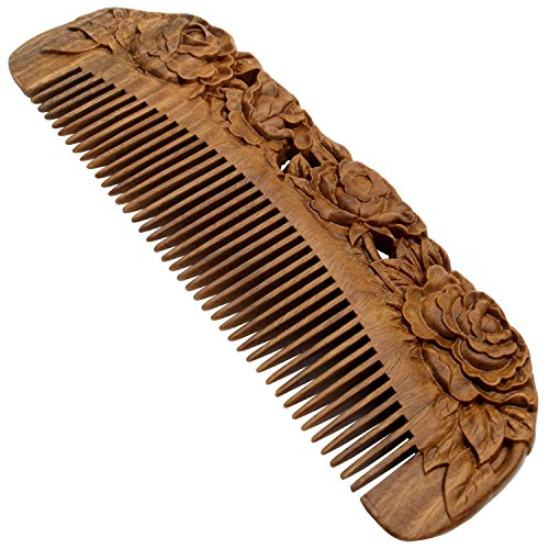 Forever Young Jaw Clips (YOY Handmade Carved Natural Sandalwood Hair Comb - Anti-static No Snag Brush for Men's Mustache Beard Care Anti Dandruff Women Girls Head Hair Accessory (HC1006))