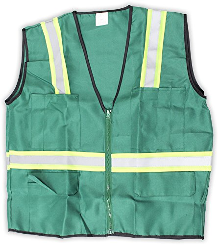 Hawk Forest Green Safety Vest With Neon Yellow And Silver Reflective (Hawk Lightweight Hat)