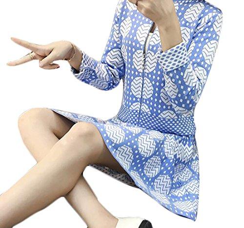 Alion Womens Slim Fit Fashion Print Zipper Jacket Crop Top+Swing Mini Slirt Sky blue (Crop Swing Jacket)