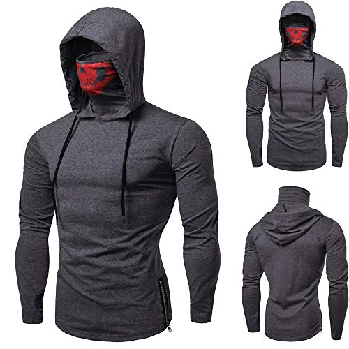 Mens Hoodie,Funny Mask Skull Hooded Pullover Solid Sweatshirt Blouse Tops Zulmaliu (Gray,L)
