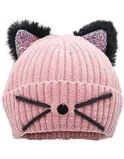Bellady Mother Children Sequin Cat Ears Hats Warm Knit Crochet Beanies Cute Fashion Skull Cap