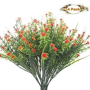 Babys Breath Artificial Flowers 4 Bundles Gypsophila Flower Wedding Home DIY Decor Gift (Orange) 97