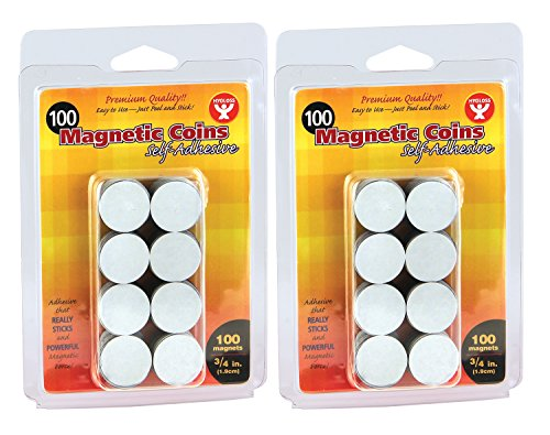 [Hygloss Products, Inc. Magnet Coins, Self- Adhesive, 3/4-Inch, 200 Pcs] (Pre Cut Self Adhesive)