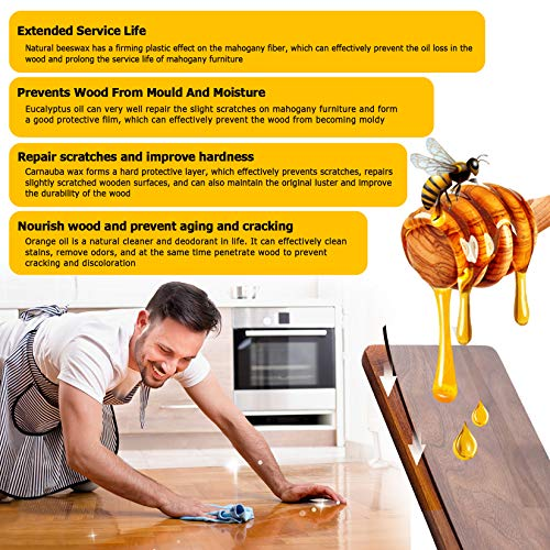 Beeswax Furniture Polish, Wood Seasoning Beeswax for Furniture CARGEN Wood Wax for Dining Table Floor Doors Chairs Cabinets to Protect and Care 6pcs Bee Wax Polish 3pcs Sponge and 1pcs Polish Glove