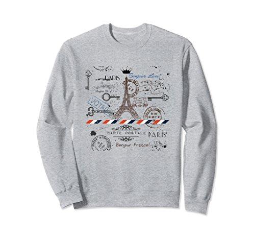 Unisex Vintage French Paris Sweatshirt with Eiffel Tower for Women Large Heather Grey -