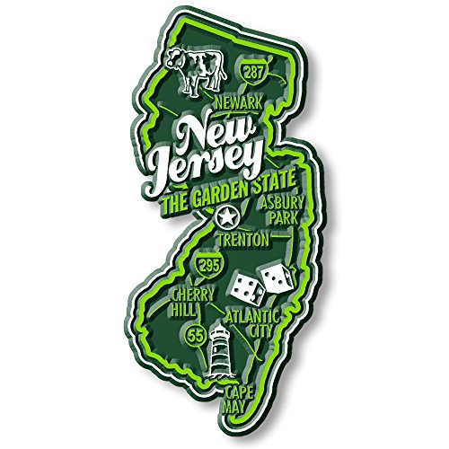 Premium State Map Magnet - New Jersey (New Jersey Magnets Refrigerator)