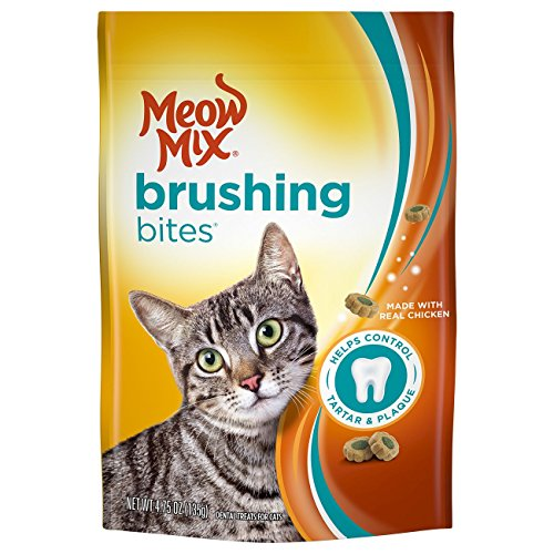 (Meow Mix Brushing Bites Cat Dental Treats Made With Real Chicken, 4.75 Oz)