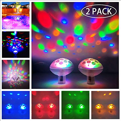 TemwJa Pool Lights Waterproof Floating Pool Lights Baby Bath Lights For The Tub(7 Lighting Modes) Colorful Bathtub Toy Lights Disco Pool Party Led Lights For Pond Hot Tub Party Decorations 2 Pack