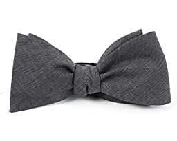 100% Cotton Warm Gray Classic Chambray Self-Tie Bow Tie