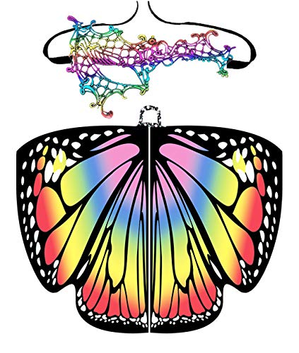 Shireake Baby Christmas/Party Prop Soft Fabric Butterfly Wings Shawl Fairy Ladies Nymph Pixie Costume Accessory (168x135CM, Rainbow) … ()