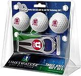 LinksWalker NCAA Utah Utes - 3 Ball Gift Pack with Hat Trick Divot Tool