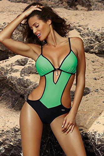 chiaro Intero Marko 492 Bicolorato Costume nero Crystal verde M 50f0qw