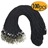 100 Pack Black Lanyard Clip Swivel Hook Bulk 36-inch Badge Lanyards with Clip Lanyards by Bulk Cotton Black lanyards for id Badges (Black)