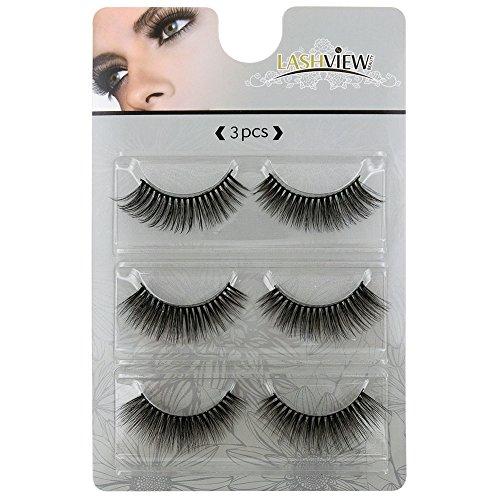 LASHVIEW Long Cross False Eyelashes Makeup Natural 3D Fake Thick Black Eye Lashes Soft Fake Lashes(JRS036) - Black False Eyelashes Eyelash