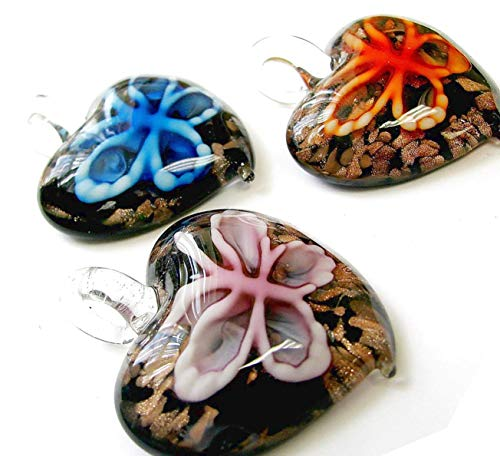 Linpeng Handmade Lampwork Beads Heart Glass Pendant 3 PCS Set, 7 by 7 by 30cm, Blue Pink Orange ()