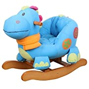 Labebe Child Rocking Horse Toy, Stuffed Animal Rocker Toy, Blue Dinosaur Rocker for Kid 1-3 Years, Wooden Rocking Horse Chair/Outdoor Rocking Horse/Rocker/Animal Ride/Child Rocking Toy/Dragon Rocker