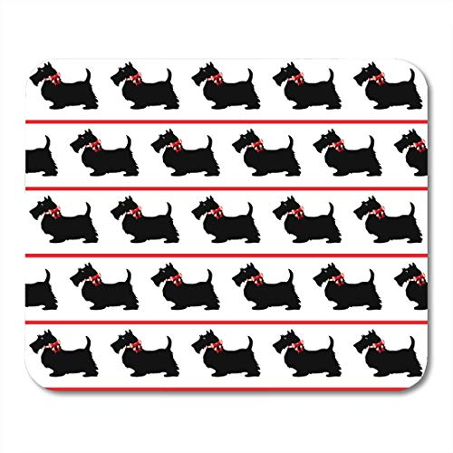 VANKINE Mouse Pads Scottish Black Scottie Dogs Red Bows on Terrier Silhouette Cartoon Mouse pad 9.5