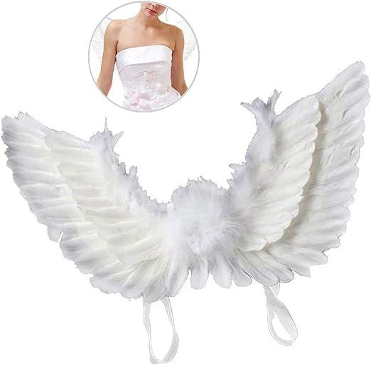 SurfMall Alas de Plumas Alas de Angel Disfraz Blanca para Adultos ...