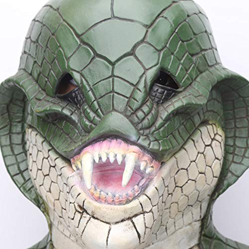 DeemoShop New Scary Rattle Snake Reptile Halloween Costume Mask Adult Latex mask Green King Snake Fancy Dress Party Halloween Masquerade