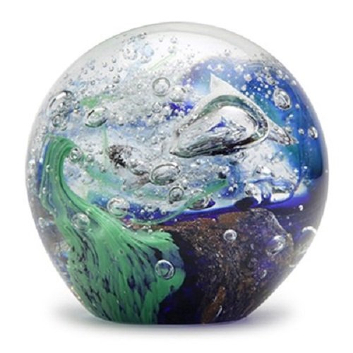Glass Handmade Small Paperweight – Blue Green Wave – 2 tall. One-of-a-kind. FREE SHIPPING to the lower 48 when you spend over $35.00