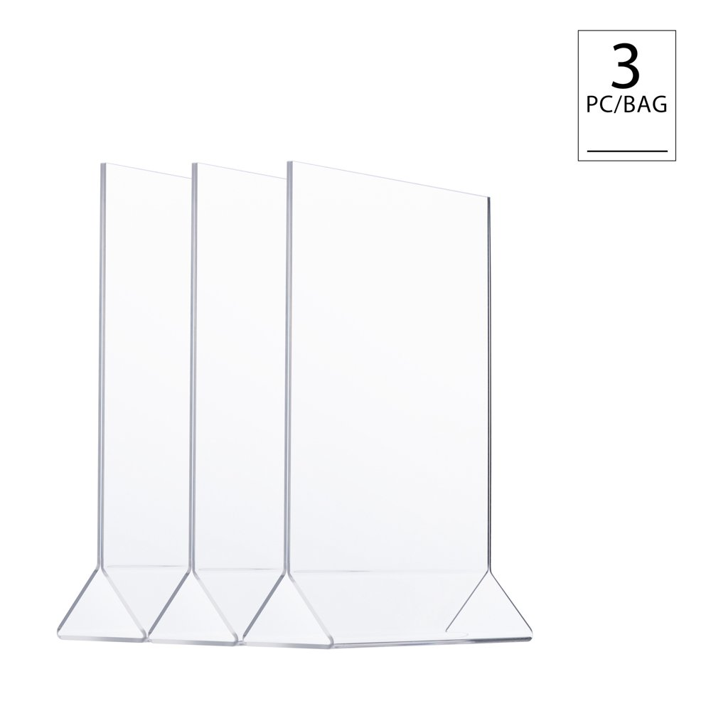 Ad Picture Frame Brochure Holder TWING Table Sign Display Holder Clear Acrylic 8.5x11inches Pack of 3