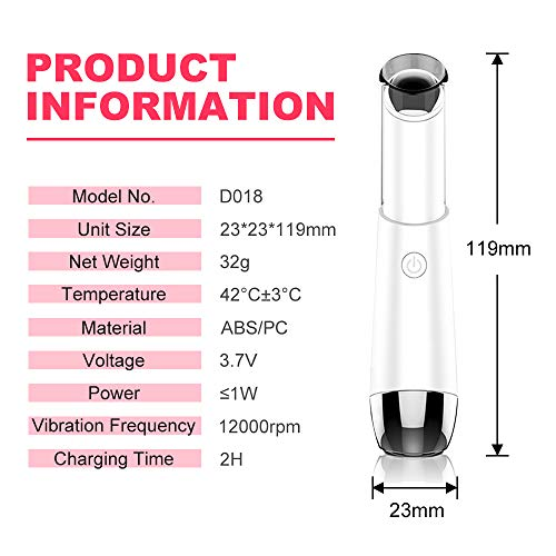 Eye Massager,Facial Body Lip Eye Massager Roller Tool Wand Pen,Heated Sonic Vibration Dark Circles Fatigue Relief,Anti-Aging Wrinkle,Eliminate Eye Bags Puffy,Two Safe Wavelength Rechargeable
